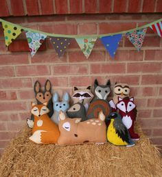 Eco Friendly Woodland Personalized Forest Critter with Initial Heart- Fox- Raccoon- Bear- Rabbit- Fawn- Wolf- Skunk-Owl- Squirrel. $34.00, via Etsy.