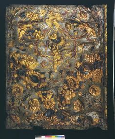Embossed and gilded leather panel | Heuvel, Martinus van den (the younger) ca. 1670 | V Museum, London