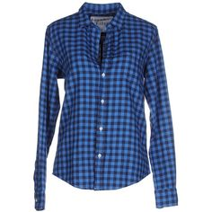 Frank & Eileen Shirt ($135) ❤ liked on Polyvore featuring tops, blue, flannel tops, shirt top, blue checked shirt, checked flannel shirt y blue long sleeve shirt