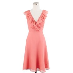 J.crew Macie Dress in Silk Chiffon in Pink (bright coral) | Lyst