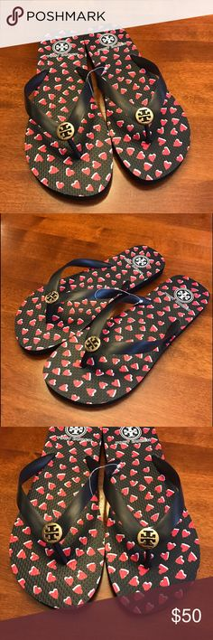 NWOT TORY BURCH FLIP FLOPS NWOT TORY BURCH FLIP FLOPS! Valentine's Day heart print! Dark navy blue almost black and red hearts! Never worn and true to size! Tory Burch Shoes Sandals