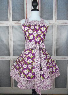 Cute sassy fun retro full womens apron white by ApronsbytheChick, $45.00