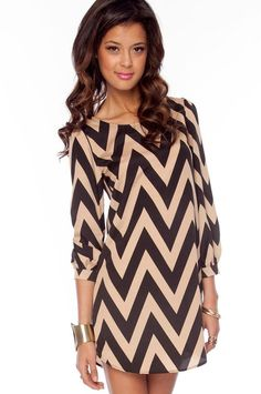 Bold Zig Zag Dress in Black and Beige :: tobi. good for summer and winter!