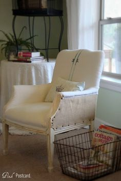 Denise shows how to easily and affordably reupohlster a thrifted chair!  Fabulous!