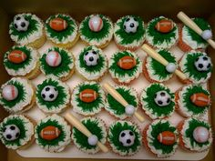 Assorted Sports Cupcakes