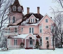 Inspiring image cute, house, pink, snow, white #96064 - Resolution 500x464px - Find the image to your taste