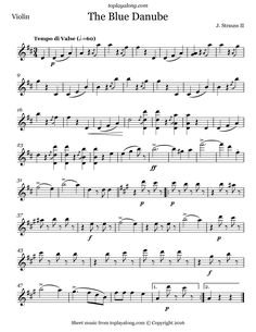 The Blue Danube Waltz by Strauss. Free sheet music for violin. Visit toplayalong.com and get access to hundreds of scores for violin with backing tracks to playalong.
