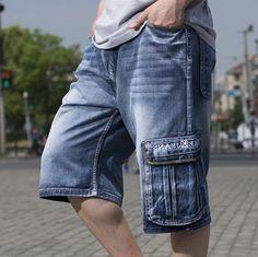 38.63$  Buy now - https://alitems.com/g/1e8d114494b01f4c715516525dc3e8/?i=5&ulp=https%3A%2F%2Fwww.aliexpress.com%2Fitem%2F2016-Mens-European-Loose-Jeans-Blue-Hip-Hop-Cargo-Pocket-Jean-Pants-Men-Jean-Shorts-Summer%2F32663180769.html - Mens Baggy Denim Cargo Blue Jeans Pants Cargo Pocket Loose Jeans For Men Summer Big Jeans Skateboard Shorts Plus Size 42 44 46