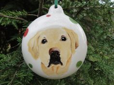 Pet Portrait Ornament Custom Hand Painted by ArtSmithStudio