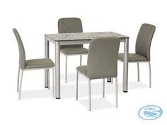 Jídelní set Damar 4+1 šedá – FALCO Jídelní set vhodný do každého interiéru se skládá ze 4 čalouněných židlí a skleněného stolu. Jídelní židle jsou vyrobeny z umělé kůže, nohy jsou v barvě chrom. Jídelní … Dining Bench, Dining Chairs, Dining Sets, Ron, Furniture, Home Decor, Products, Dinner Sets, Dining Room Bench