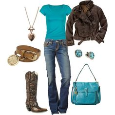 This outfit reminds me of that song....I'm a little bit country, and I'm a little bit rock n roll!!! love the teal. - by Repinly.com