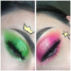 Karneval Was told you all would like this. My friends Cosmo & Wanda look. Disney Eye Makeup, Disney Inspired Makeup, Cute Eye Makeup, Edgy Makeup, Creative Eye Makeup, Colorful Eye Makeup, Eye Makeup Art, Crazy Makeup, Makeup Eye Looks