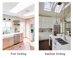 Whether you have flat or vaulted ceilings, you can still install skylights. Learn the difference and the questions to ask your contractor. Skylight Design, Vaulted Ceilings, Skylights, Design Process, Natural Light, Flat, This Or That Questions, Kitchen, Home Decor