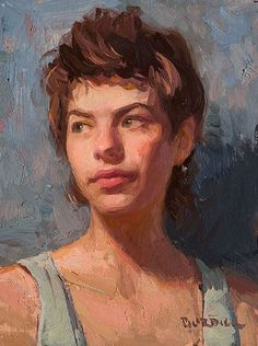 """Alayna"" - Scott Burdick (b. 1967), oil on canvas, 2007 {figurative #impressionist art female head woman face portrait impressionist texture painting} scottburdick.com"