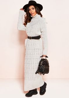 a177879c6a Jade Beige Cable Knit Roll Neck Jumper Dress
