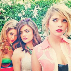 Sasha Pieterse , Lucy Hale & Ashley Benson....Lucy tempts me into cutting my hair short