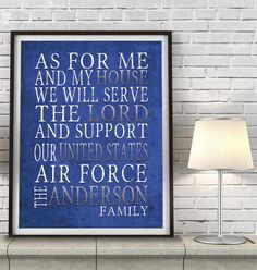 PERSONALIZED NAME United States Air force Armed Forces military family wife custom print poster or canvas Christmas Christian gift,All Sizes