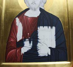 Daniel Neculae 007 Religious Icons, Religious Art, Byzantine Icons, Painted Clothes, Orthodox Icons, Catholic, Diy And Crafts, Batman, Textiles