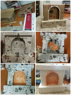 Office Christmas Decorations, New Years Decorations, Christmas Crafts, Simple Fireplace, Diy Fireplace, Fireplace Furniture, Cardboard Furniture, Cardboard Crafts, Cardboard Playhouse