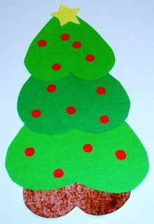This paper Christmas Tree is a very easy and inexpensive craft activity for kids to make. It is made with 4 heart shapes.