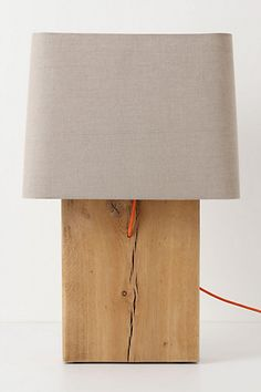 Quercus Slab Lamp Ensemble #anthropologie Again, you have got to be kidding me. Was $1,000, now this block of wood and a lamp shade can tie your room together for $500!