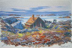 Roland Svensson (1910-2003): Väntan, Kallskär, color lithograph, 1974