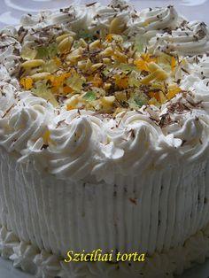 Szicíliai torta 🍴 Ricotta, Camembert Cheese, Fondant, Tart, Cooking Recipes, Baking, Food, Cakes, Pie