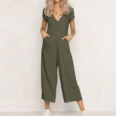 2018 NEW Fashion Womens V Neck Jumpsuit Summer Short Sleeve Wide Leg Pant Clubwear Playsuit Rompers Women, Jumpsuits For Women, Fancy Jumpsuits, Evening Jumpsuits, Mode Kimono, Casual Jumpsuit, Jumpsuit Outfit, Summer Jumpsuit, Black Jumpsuit