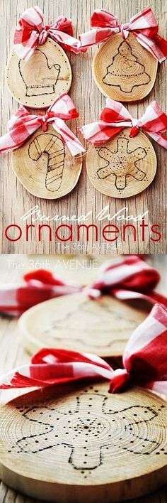 Christmas Crafts - Super cute Burned Ornament at the36thavenue.com #christmas #decor #ornaments