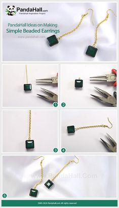 Making Simple Beaded Earrings - This pair of earrings has a very simple design and the color-matching of dark green beads and golden chain make them very elegant and attractive. Simple Bead Earrings, Cuff Earrings, Copper Earrings, Simple Jewelry, Women's Earrings, Jewelry Making Tutorials, Jewellery Making, Bijoux Diy, Handcrafted Jewelry