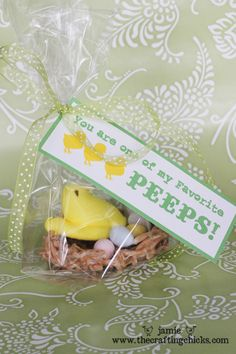 """To make these nests you will need: -1 bag of large marshmallows -2 cans Chow Mein noodles (in the Asian food section in the grocery store) -2 T. butter -cooking spray or shortening (to rub on hands to form nests) Make nests like Christmas haystacks; let cool; add little chocolate eggs & a Peep. """"You are one of my favorite Peeps"""""""