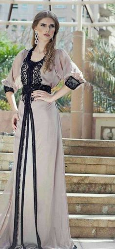 Elegant Scoop A Line Beaded With Rhinestones Long Sleeve Chiffon Dubai Kaftan Abaya Arabic Style Evening Dresses 2015 Caftan Arab Fashion, Islamic Fashion, Muslim Fashion, Modest Fashion, Morrocan Dress, Moroccan Caftan, Abaya Mode, Mode Hijab, Abaya Designs