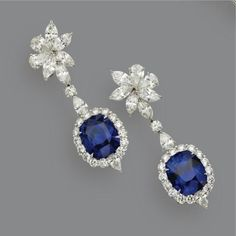 Pair of sapphire and diamond pendant-earrings.