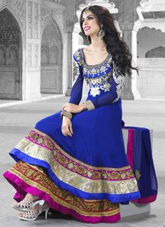 $142 Blue Layered Ankle Length Anarkali Suit