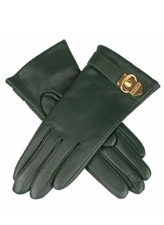 7-2396 - Evergreen. Phoebe - Women's cashmere lined hairsheep leather gloves with buckle detail.