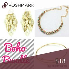 🗿✨Boho Bundle✨🗿 Includes one braided bead gold tone bohemian style necklace, one pair of gold tone boho leaf tassel earrings and one gold tone arrow bangle. Only one bundle available. Buy this or make your own!  Hi Sweety! 😺 Thanks for looking at my closet! I always have some sort of sale going on and new items arrive weekly. Be sure to check back soon!!💋  Happy Shopping!💄👛💎🎀👗  Tags: follow game dainty gift gifts trendy Indian Jewelry Necklaces