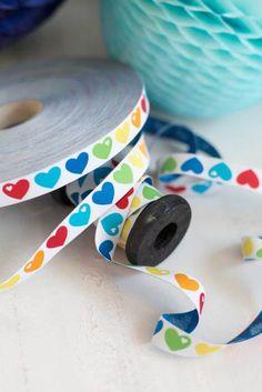 3 m webbing /meter) byGraziela rainbow hearts 15 mm Stoff Design, Decorative Tape, Rainbow Heart, Bunt, Fabric Design, Weaving, Orange, Yellow, Turquoise