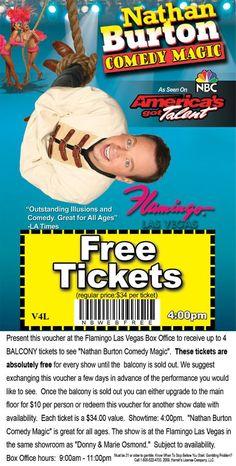 Free Printable Las Vegas Show Coupons.: Free Nathan Burton Tickets