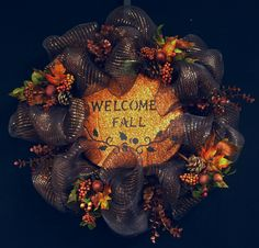 Fall Mesh Wreath, Poly Mesh Wreaths, Chocolate Copper, Fall Wreath, Deco Mesh Wreaths - Item 365