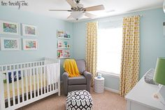 My fave home design elements: pretty blue walls, bright and cheerful room, not too stuffy or over-accessorized.