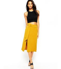 Always pleased to post both affordable AND wearable items from whowhatwear! ASOS Midi A-line Split Detail Obi Belt Skirt ($26)