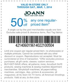 Pinned february 10th 40 off a single item at jo ann fabric or jo ann fabric coupon jo ann fabric promo code from the coupons app off a single item at jo ann fabric february m4hsunfo Choice Image