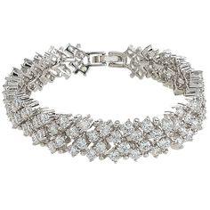 EVER FAITH® Bridal Silver-Tone Round Full Clear CZ Austrian Crystal Tennis Bracelet N02211-1