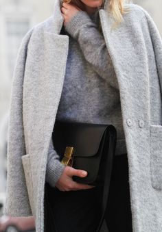 Grey cocoon coat, grey sweater, black trousers + Céline bag | @styleminimalism