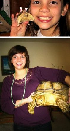 Same girl, same turtle. This reminds me of my childhood, where I had turtles a lot -- though they didn't quite grow up to be such giants, unfortch.