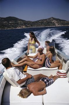 The Pucci family take a trip on a motorboat off the Italian coast, August 1969. Photo: Slim Aarons.