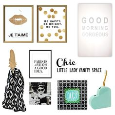 A chic little lady vanity space. Colors: black & white pattern, gold leaf, green and mint