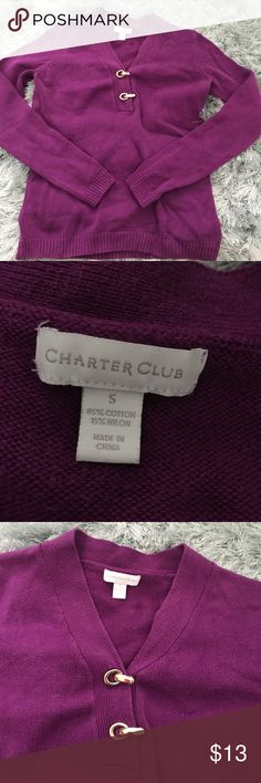Long sleeve top Long sleeve purple blouse with gold embellishments. Like new. Charter Club Tops Blouses