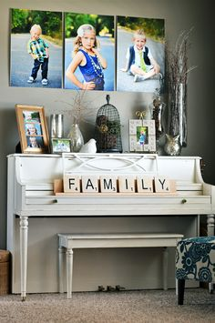 Someday I will have a piano like this in my house and someone will learn to play so I can justify it. Large Scrabble tiles for decorating. Scrabble decor, big scrabble, home decor scrabble Pianos Peints, My Living Room, Living Room Decor, Scrabble Tile Wall Art, Scrabble Letters, Painted Pianos, Foyer Decorating, Decorating Ideas, Decor Ideas
