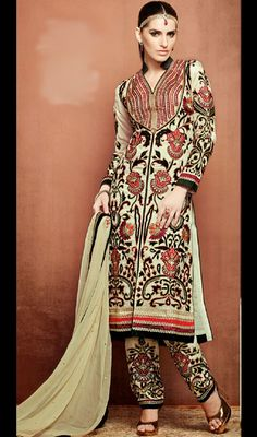 Beige floral embroidered maxi style anarkali suit in net http ...